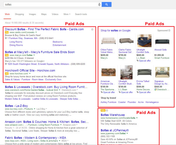 Example of Google Search Results Page