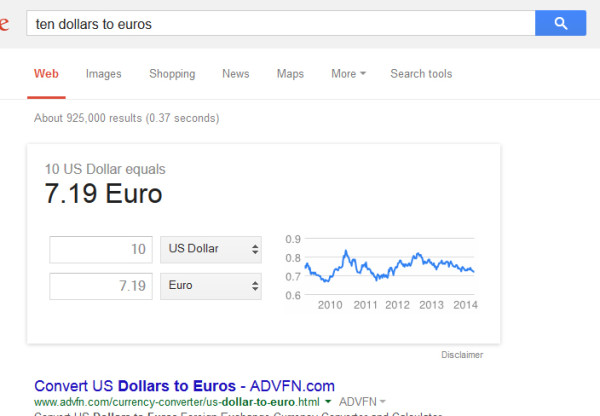 Example of Google converting currency in the search results