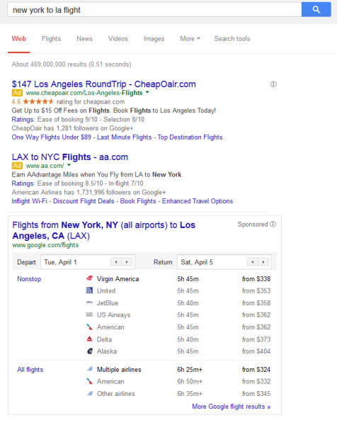 Example of Google flight search results