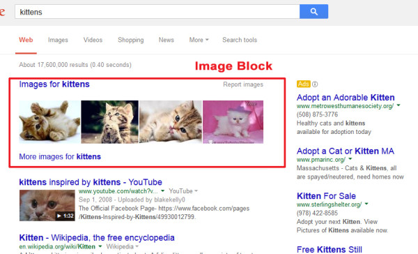 Example of Google results with an image block
