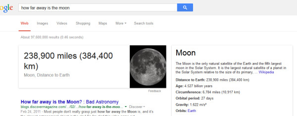 Example of Google giving answers directly in the search results