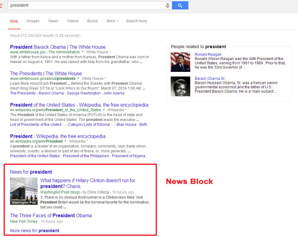 Example of Google News search result
