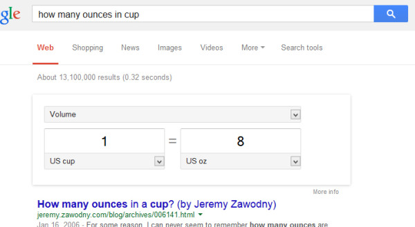 Example of Google answers directly in the search results
