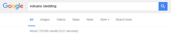"""Volcano Sledding"" has 170.000 Google results"