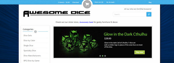 Awesome Dice site home page