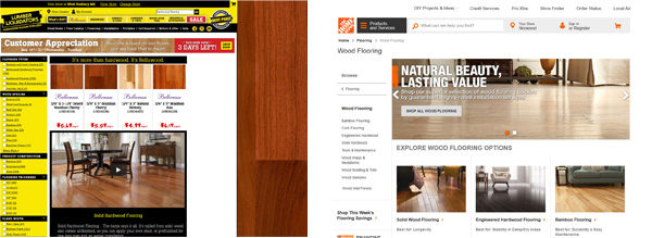 Lumber Liquitators vs Home Depot site appearance