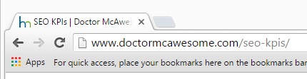 Title tag as it appears in the browser tab