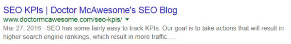 Title tag as it appears in Google SERPs
